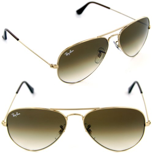 Image of Ray-Ban RB3025 001/51 55mm Aviator Gold Frame / Light Brown Gradient Lenses Made In Italy Sunglasses