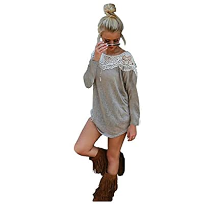 Urparcel Women Long Sleeve Lace Stitching T-Shirt Blouse Tops