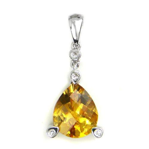 14K White Gold Teardrop Shape Citrine Diamond Pendant
