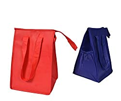KC Caps® Eco-Friendly Lunch Tote - Insulated Hot and Cold Cooler Bag with Zip Closure - 2 Packs
