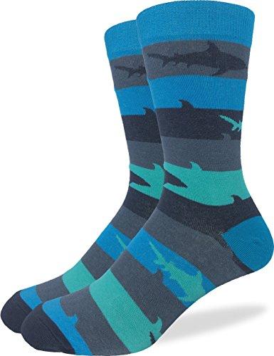 Good Luck Sock Men's Shark Crew Socks,Large (Shoe size 7-12),Blue (Shark Socks For Men compare prices)