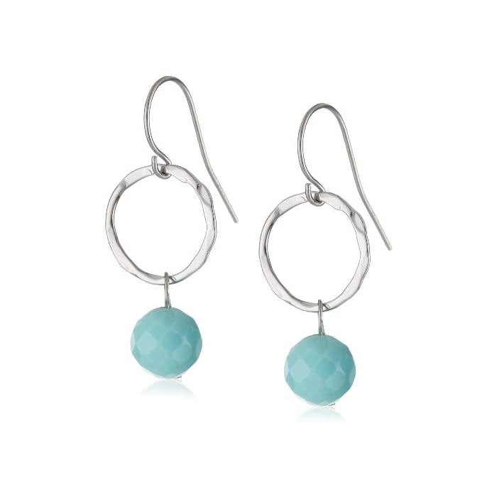Sterling Silver Faceted Simulated Turquoise Round Hammered Drop Earrings