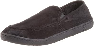Isotoner Men's Microsuede Slipper, Black, XX-Large