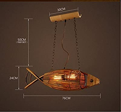 BLYC- Creative wooden fish museum American styleretro weaving 7624CM chandelier