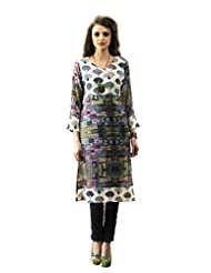 Admyrin Women's Multi Colour Georgette Digital Printed Kurti - B00QKGDZ28