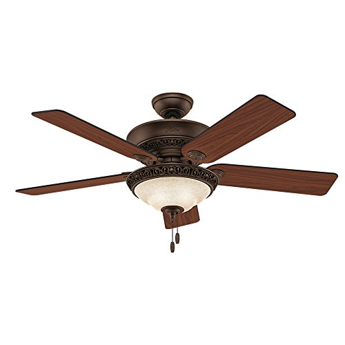 Hunter Fan Company 53200 Italian Countryside 52-Inch Ceiling Fan with Five Aged Barnwood/Cherried Walnut Blades and Light Kit, Cocoa