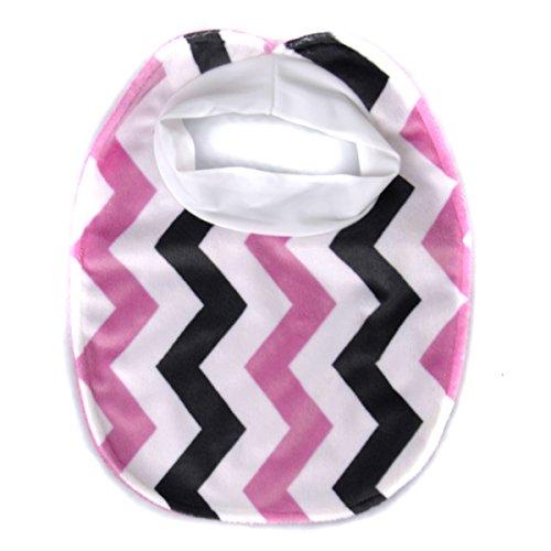 Drew's Fuzzy Pink Chevron Baby Girl Bib