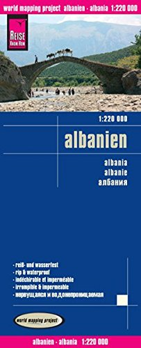 Albania, mapa impermeable de carreteras. Escala 1:220.000 impermeable. Reise Know-How.