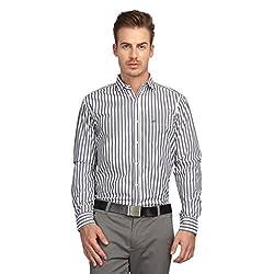 British Line Grey color Slim Fit Striped Shirt