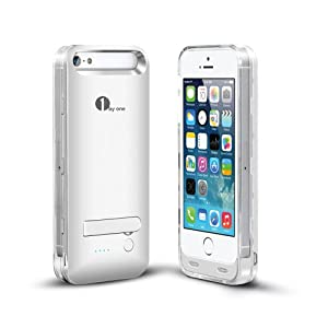 [Apple MFI Certified]1Byone Power Cover For iPhone5 & 5s. 2400mAh Charger & Case, Rechargeable & Portable Extended Life Backup Power Bank for Locked or Unlocked Iphone5 & 5s. (Compatible with Verizon, Sprint, Tmobile, AT&T Wireless).Original Apple 8Pin Connector & Battery, iOS 7+ Compatible.Silver