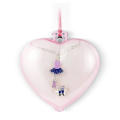Ballerina Jewellery Gift Set includes kids ring and necklace - arrives in a lovely heart shaped case making this the perfect gift.