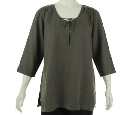 Eileen Fisher Split Neck Top Dapple 1X