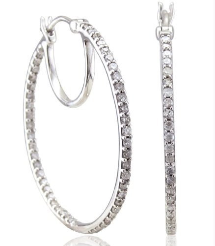 1/2 Ct Diamond Hoop Earrings in Sterling Silver (I1-I2, GH, 0.50 carat)