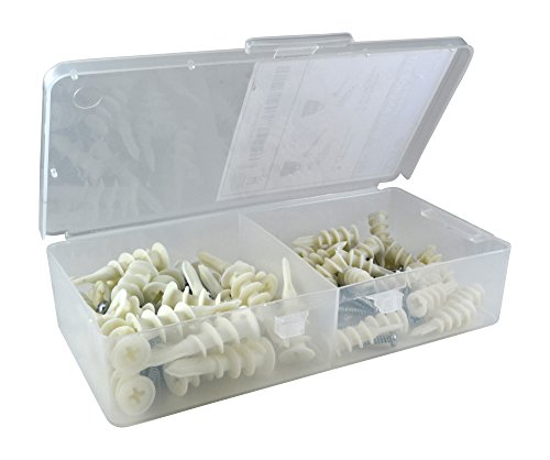 Plastic Self-Drilling Drywall and Hollow-Wall Anchor Kit, Combo-Pack with Large and Small Anchors, 100 Pieces Total Including Screws