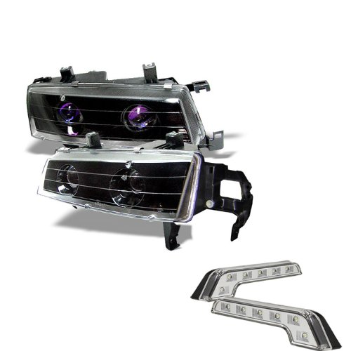 Carpart4u Honda Prelude Halo Black Projector Headlights and LED Day Time Running Light Package (Halo Lights For Honda Prelude compare prices)
