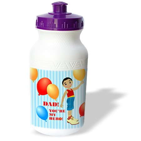 Wb_125896_1 Belinha Fernandes - Gifts For Fathers Day - Dad, You Are My Hero, Message From Afro-American Boy Holding Balloon - Water Bottles front-400229