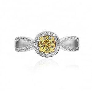 0.82Cts Yellow Diamond Engagement Halo Ring Set in 18K White Yellow Gold GIA