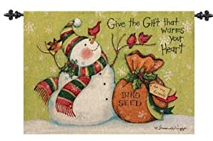 Manual Woodworkers & Weavers Give the Gift that Warms Your Heart Christmas Snowman Tapestry Wall Hanging by Susan Winget