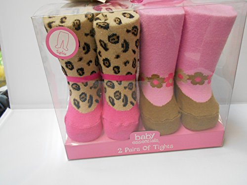 Baby Essentials 2 Pairs of Tights Cheetah Print with Pink/flower
