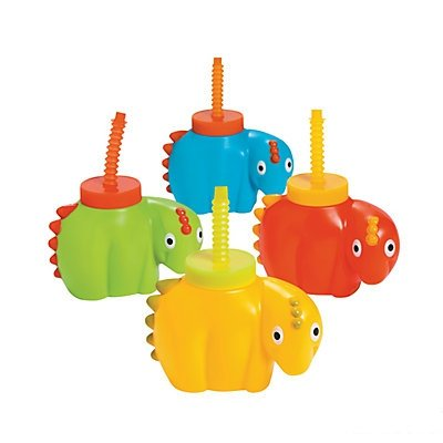Dinosaur Molded Cups with Lids & Straws