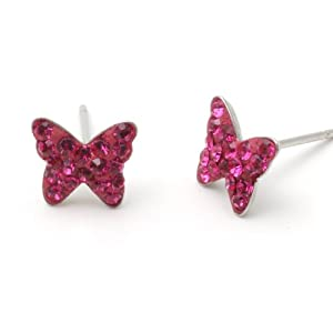 Very Small Hot Pink Crystal Butterfly Post Earrings Fashion Jewelry