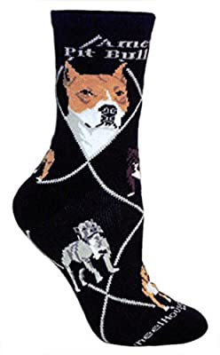 American Pit Bull Terrier Black Ultra Lightweight Cotton Crew Socks - Made in USA