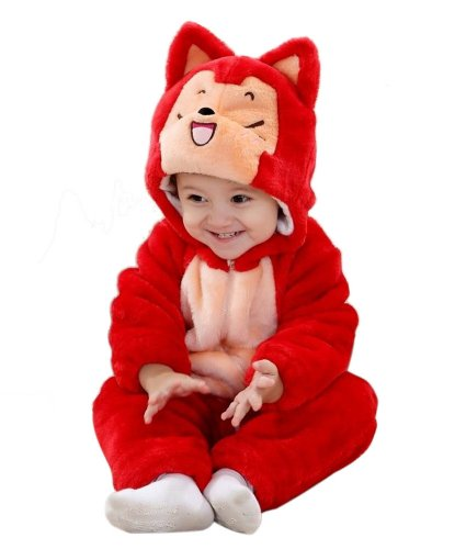 Meilaier Winter Newborn Romper Animal A Raccoon Toddler Infant Baby Onesie Outfits Suit Halloween Costume Red