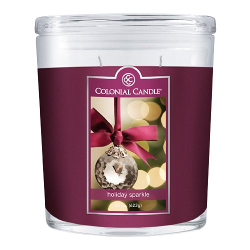 Colonial Candle 22-Ounce Scented Oval Jar Candle, Holiday Sparkle