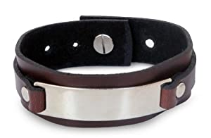 Leather wristband bracelet, 'Modern Thai Contrast'