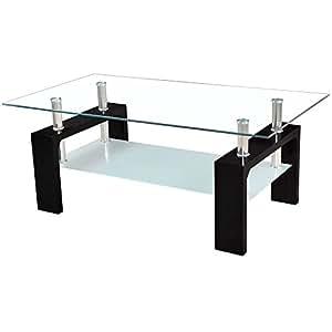 (OSJ)ガラステーブル コーヒーテーブル 幅98cm 強化ガラス天板 (ブラックガラス+ブラック脚) (Glass)