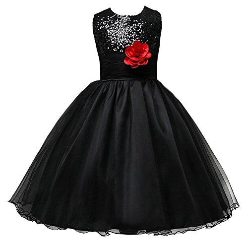 JerrisApparel Little Girls' Sequin Mesh Flower Ball Gown Party Dress Tulle Prom (5, Black)