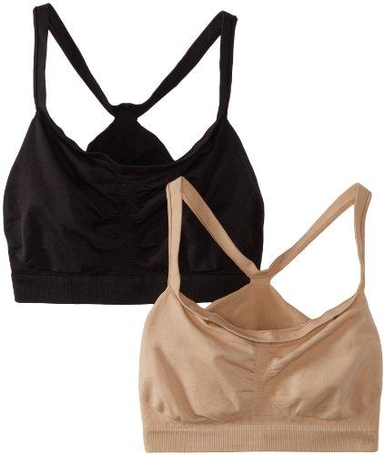 Hanes Women's 2 Pack Bandini Bra, Nude/Black, X-Large