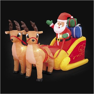 Lb International Inflatable Santa And Sleigh front-376246