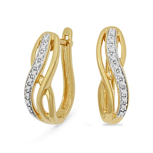 Yellow Plated Sterling Silver Round Diamond Hoop Earrings (1/10 Cttw)