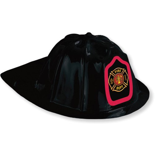 Fire Watch Party Black Plastic Fire Hat (1 ct) - 1