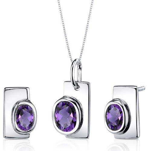 Revoni Art Deco Bezel Set 1.75 carats Sterling Silver with Rhodium Finish Amethyst Pendant Earrings Set