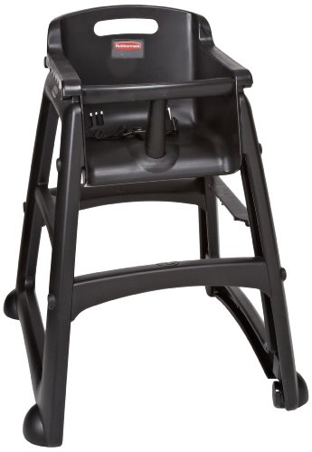 "Rubbermaid FG780508 Black Sturdy Chair Youth Seat with Wheels, 23.5"" Length, 23.38"" Width, 29.75"" Height"