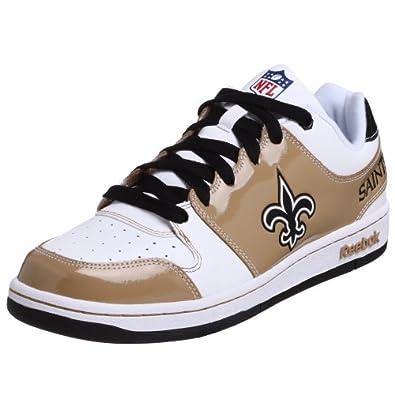 Reebok Men's NFL Saints Field Pass Helmet Sneaker,White/Gold/Black,6.5