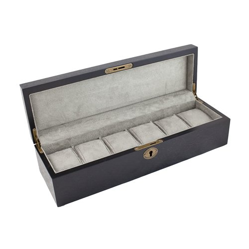 Caddy Bay Collection Dark Walnut Finish Wood Watch Case Display Storage Box Chest With Solid Top Holds 6 Large Watches