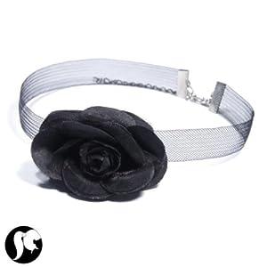 collier ras de cou fleur tissu noir rose textile bijoux. Black Bedroom Furniture Sets. Home Design Ideas