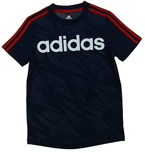 Adidas Youth Big Boys Logo Shirt (X-Large / 18, Navy/Scarlett)