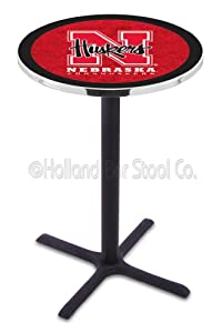 "Nebraska Cornhuskers (L211) 36"" Tall Logo Pub Table by Holland Bar Stool Company (with Black Wrinkle Base and 28"" Table Top Diameter)"