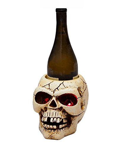 Hairraising Halloween Polystone LED Skull Wine Bottle Holder