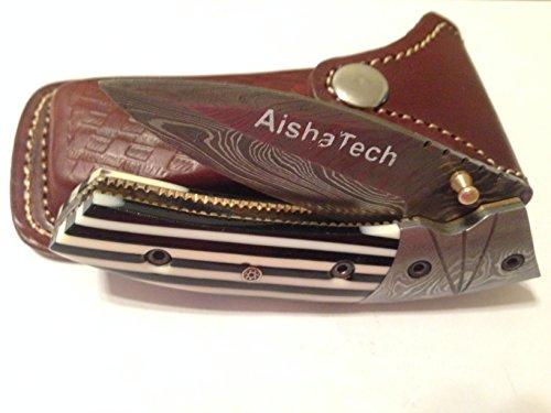 Damascus Steel Blade Pocket Knife Zebra Stripes Slanted Handle