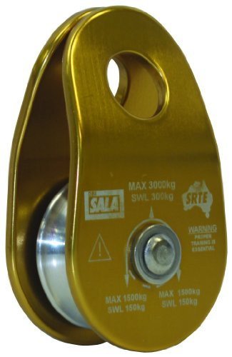 DBI-SALA,Rollgliss Technical Rescue 8700012 Single Sheave, 40MM Diameter Rigging Pulley, Aluminum, 1.5-Inch Diameter, For Rope Up To 7/16-Inch, Gold/Silver