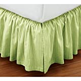 Super Soft Stripe Sage King Size Ruffle Bed Skirt 100% Cotton
