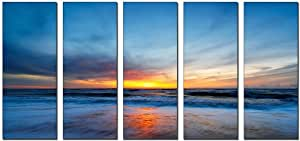 Vibrant Canvas Prints Modern Sunset Beach Design Canvas, 5 Panel Print