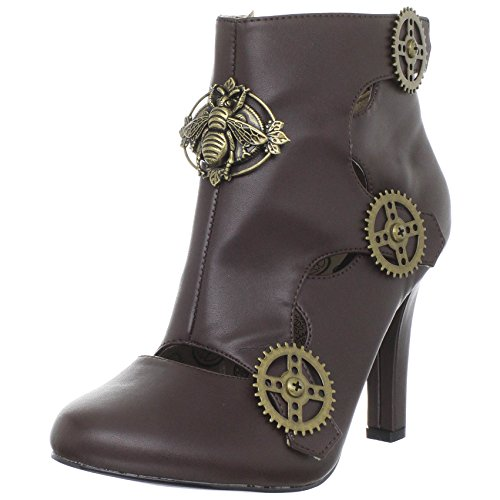 Womens-Brown-Booties-Steampunk-Gear-Button-Ankle-Boots-4-Inch-Heels-Pointed-Toe