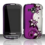 Samsung Transform Ultra M930 Accessory - Purple / Silver Vine Flower Design Protective Hard Case Cover for Sprint / Boost Mobile