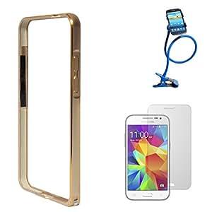 DMG Luxurious Aluminium Metal Bumper Case For Samsung Galaxy Core Prime G360 (Golden) + Long Flexible Stand + Matte Screen